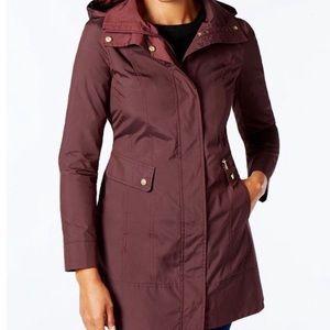 LIKE NEW Cole Haan Burgundy Zipper Hood Rain Coat